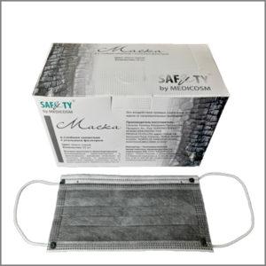 Маски для лица 4-х слойные с угольным фильтром (50 шт)